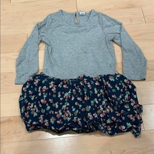 Grey dress with navy flowered skirt